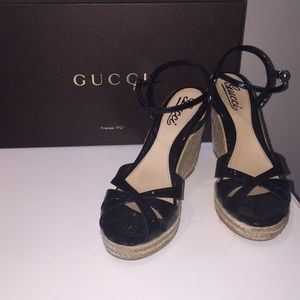 Authentic Gucci- Black leather wedges